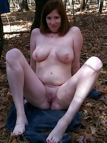 Horny redhead mature slut after sex in public