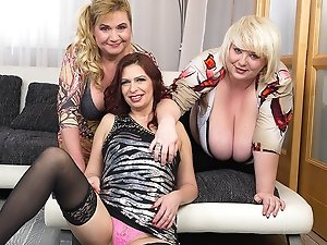 Three housewives fucking and sucking one guy