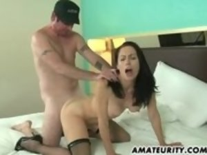 Brunette amateur mom gets hard dick in hotel room