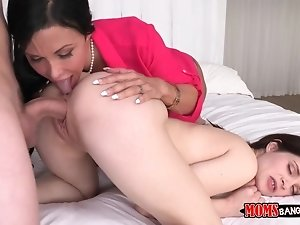 Milf and step daughter threesome with boyfriend