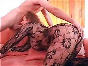 Nice German blonde MILF in catsuit fucks younger boy