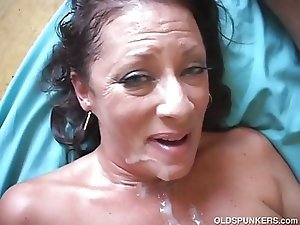 Very sexy old spunker enjoys a hard fuck and a sticky facial