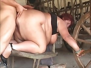 Mature SSBBW fucked in the barn