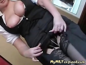 My MILF exposed - sexy milf in stockings playing with pussy