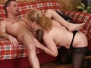 Italian Blonde Mature With Young Man
