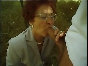 Granny Susanne Sucks and Fucks Outdoors