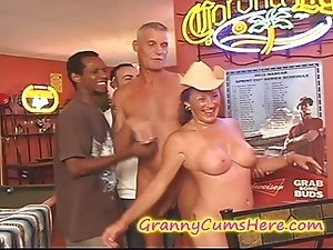 Granny gets a POOLHALL GANG BANG